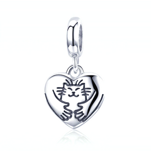Hold you tight in My Heart Cat Charm Sterling Silver