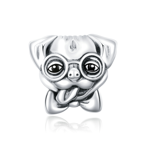 Pug Glasses Charm Sterling Silver fits Charm Bracelet | Loulu Charms