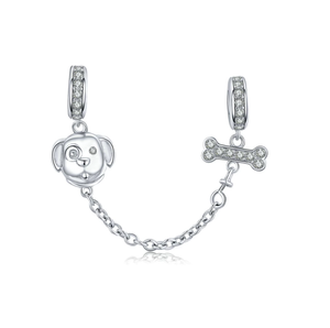 Dog and Bone Safety Chain Charm Sterling Silver   | Loulu Charms