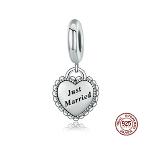 Just Married Charm Sterling Silver