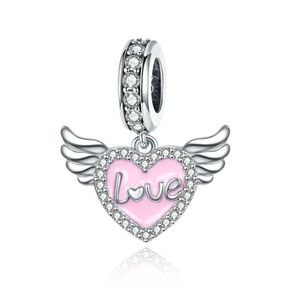 Angel Wings & Heart Charm Sterling Silver for charm bracelet | Loulu charms