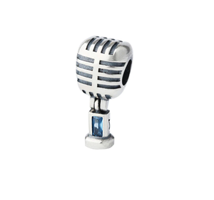 Microphone Charm Sterling Silver
