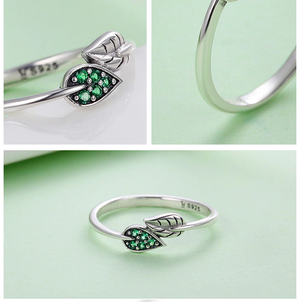 Dancing Green Leaves Ring Sterling Silver