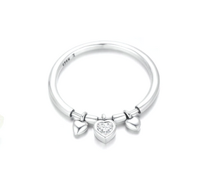 Glittering Heart Clear CZ Ring Sterling Silver | Loulu Charms