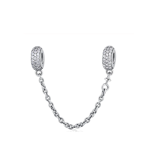 Sparkling Safety Chain Charm Sterling Silver | Loulu Charms