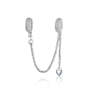 Dangling Heart Safety Chain Charm Sterling Silver