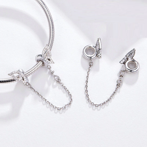 Butterfly Safety Chain Charm Sterling Silver | Loulu Charms