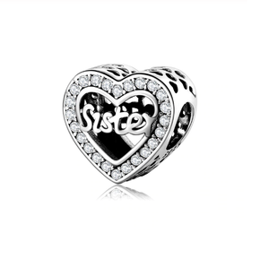 Sisterly Love! Sister Halo Crystal Heart Charm Silver | Loulu Charms