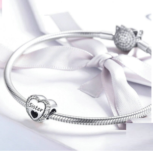 Sister Heart Charm Sterling Silver | Loulu Charms