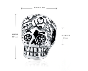 Day of the Dead Skull Charm Sterling Silver