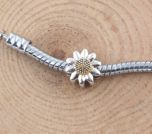 Sunflower Charm Sterling Silver