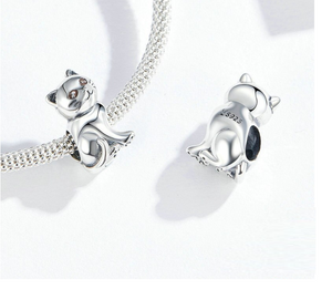 Lucky Cat Charm Sterling Silver fit Charm Bracelet | Loulu Charms