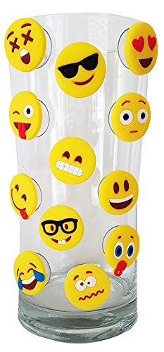 Emoji Charms with Suction 12 Pack, Perfect Markers for Wine Glass to Red Cups!