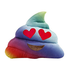 Rainbow Poop Heart Eyes Emoji Pillow
