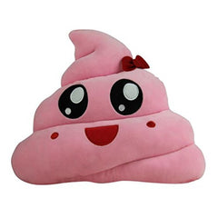 Pink Poop Emoji Pillow With Bow