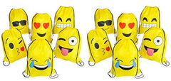 "EMOJI EMOTICON DRAWSTRING BACKPACKS 12 PACK 16"" x 13"""