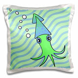 Green and Blue Squid - Pillow Case