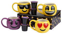 Emoji Coffee Cups–Includes FREE K-Cup of our Gourmet Coffee– Embossed Emoji 12 oz Coffee Mugs  (The 4 pack)