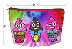 Emoji Ice Cream Poop Rainbow Tie Dye Cosmetic Makeup Pencil Case Pouch