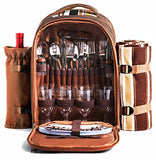 Picnic Backpack Bag for 4 Person With Cooler Compartment, Detachable Bottle/Wine Holder, Fleece Blanket, Plates and Cutlery!