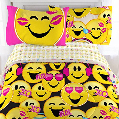 Emoji - 3 Piece Microfiber Sheet Set with Pillowcase - Twin