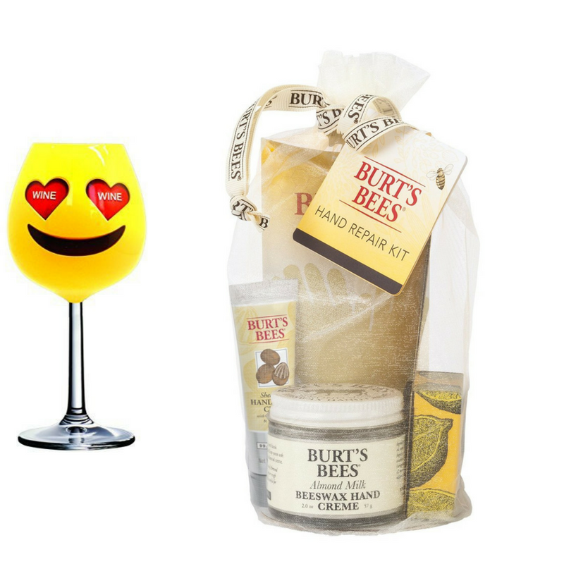Emoji -Burt's Bees Hand Repair Gift Set & Wine Glass