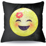 Kiss on forehead sequin Emoji Pillow