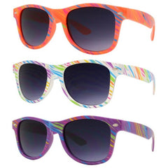 4567-9 kids plastic sunglasses in orange, rainbow, and purple