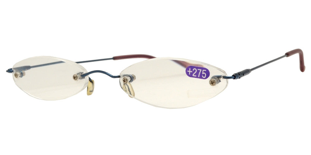 Wholesale - RS 1033 - Tiny Oval Rimless Metal Reading Glasses with Case - Dynasol Eyewear