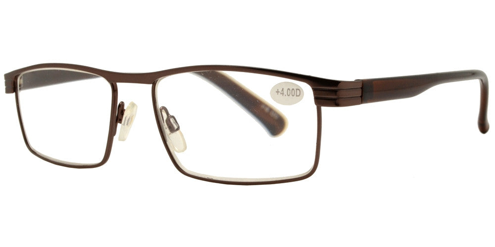 Wholesale - RS 1263 - Rectangular Horn Rimmed Metal Reading Glasses - Dynasol Eyewear