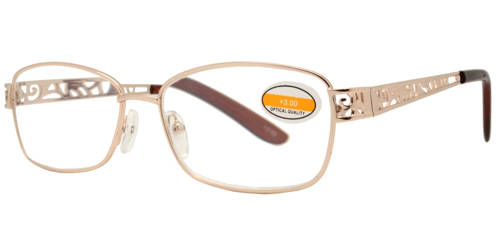 Wholesale - RS 1282 - Rectangular Frame Temple Cut Out Design Metal Reading Glasses - Dynasol Eyewear