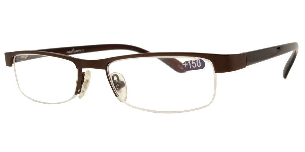Wholesale - RS 1387 - Small Rectangular Half Rimmed Metal Reading Glasses - Dynasol Eyewear
