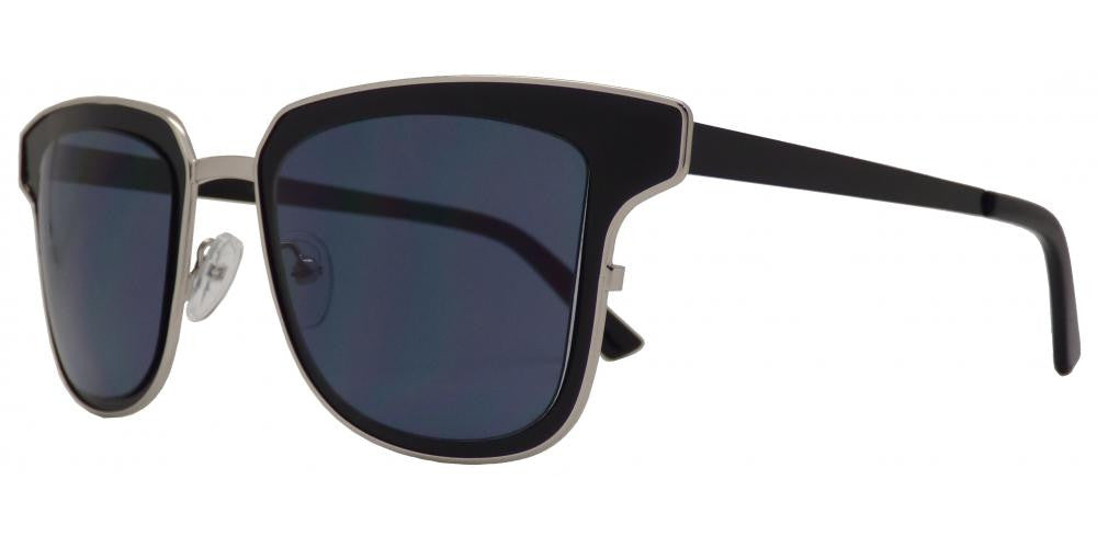 1822 - Modern Square Horn Rimmed Sunglasses with Mirror Lens - Dynasol Wholesale Sunglasses