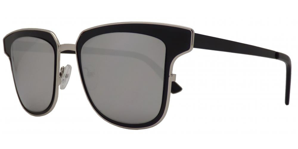 Dynasol Eyewear - Wholesale Sunglasses - 1822 - Modern Square Horn Rimmed Sunglasses with Mirror Lens - sunglasses