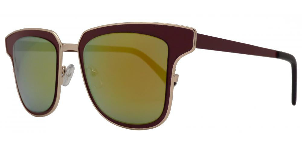 Wholesale - 1822 - Modern Square Horn Rimmed Sunglasses with Mirror Lens - Dynasol Eyewear