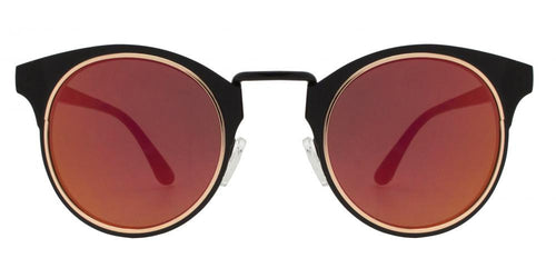 Wholesale - 1828 - Horn Rimmed Round Sunglasses with Mirror Lens - Dynasol Eyewear