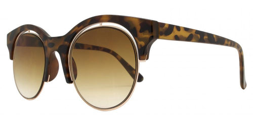 Wholesale - 1850 - Round Horn Rimmed Sunglasses with Flat Lens - Dynasol Eyewear