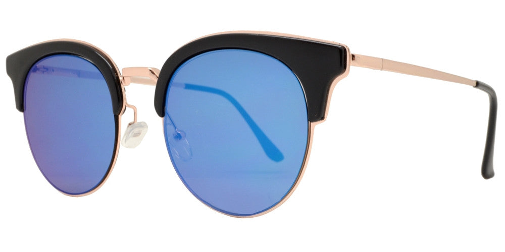 Wholesale - 1875 - Round Color Mirror Flat Lens Sunglasses - Dynasol Eyewear