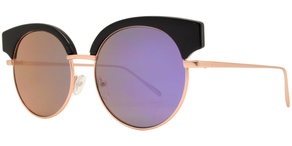 Wholesale - 1879 - Round Horn Rimmed Slim Metal Sunglasses with Flat Lens - Dynasol Eyewear