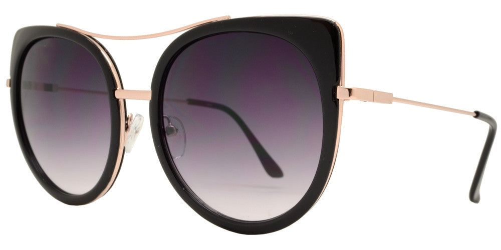 Wholesale - 1882 - Oval Cat Eye Sunglasses with Slim Metal Temple - Dynasol Eyewear