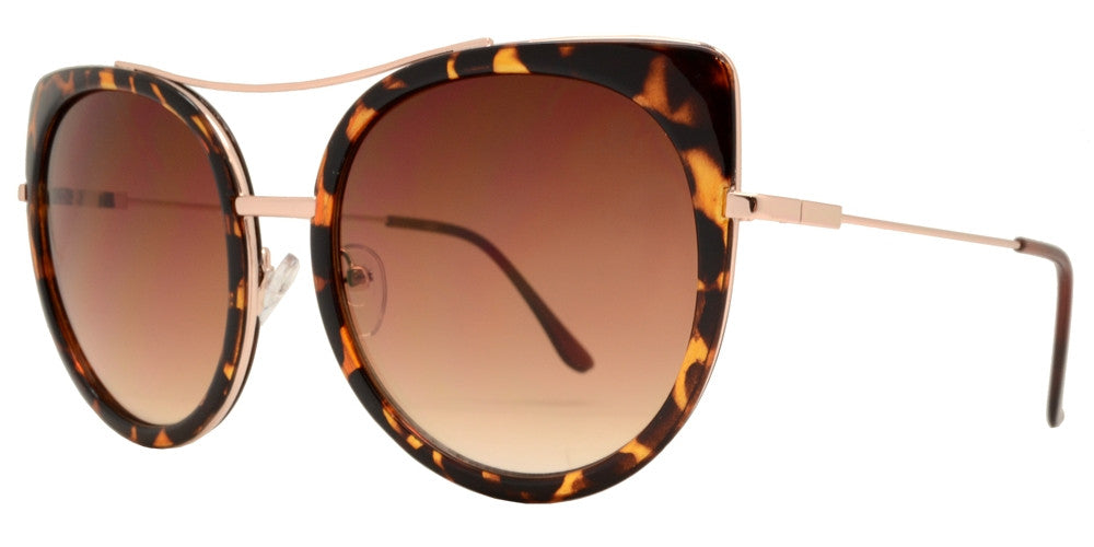 1882 - Oval Cat Eye Sunglasses with Slim Metal Temple
