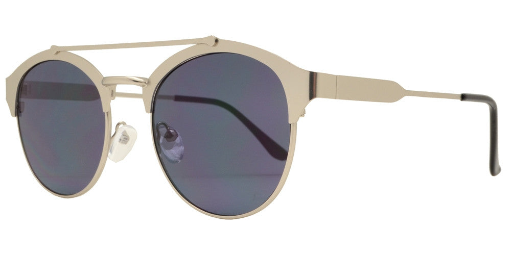 Wholesale - 1884 - Retro Round Flat Lens with Brow Bar Metal Sunglasses - Dynasol Eyewear