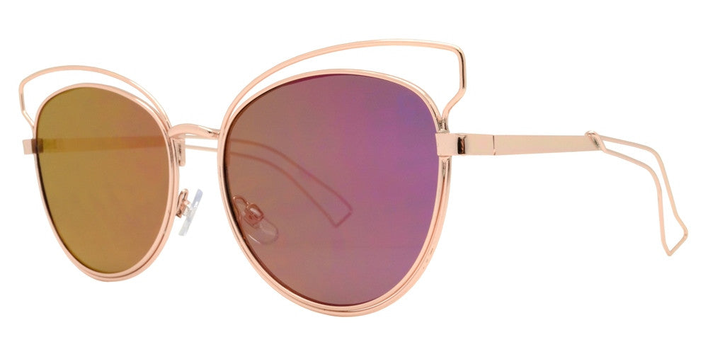 2642 - Horn Rimmed Cut Out Frame Sunglasses with Color Mirror Lens