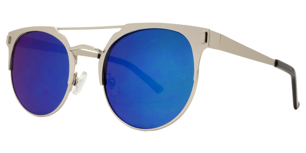 Wholesale - 2646 - Round Horn Rimmed with Color Mirror Lens - Dynasol Eyewear