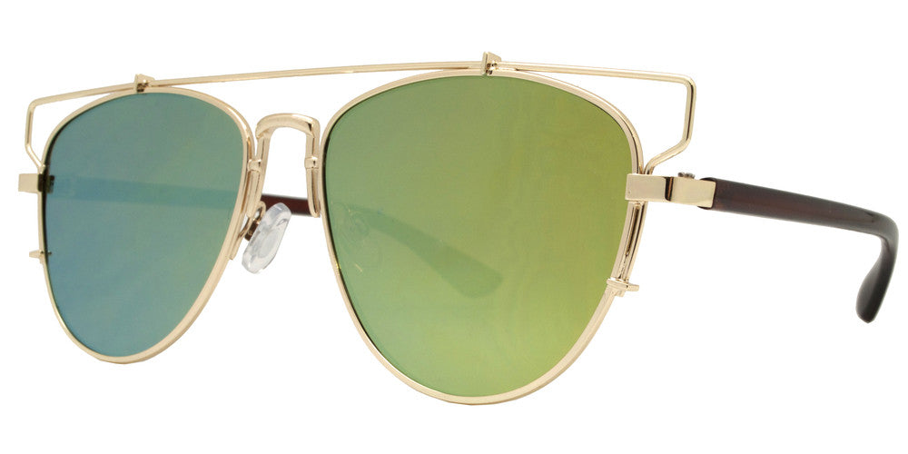293bf01d3 ... Wholesale - 2653 - Flat Top Color Mirror Flat Lens Metal Sunglasses - Dynasol  Eyewear