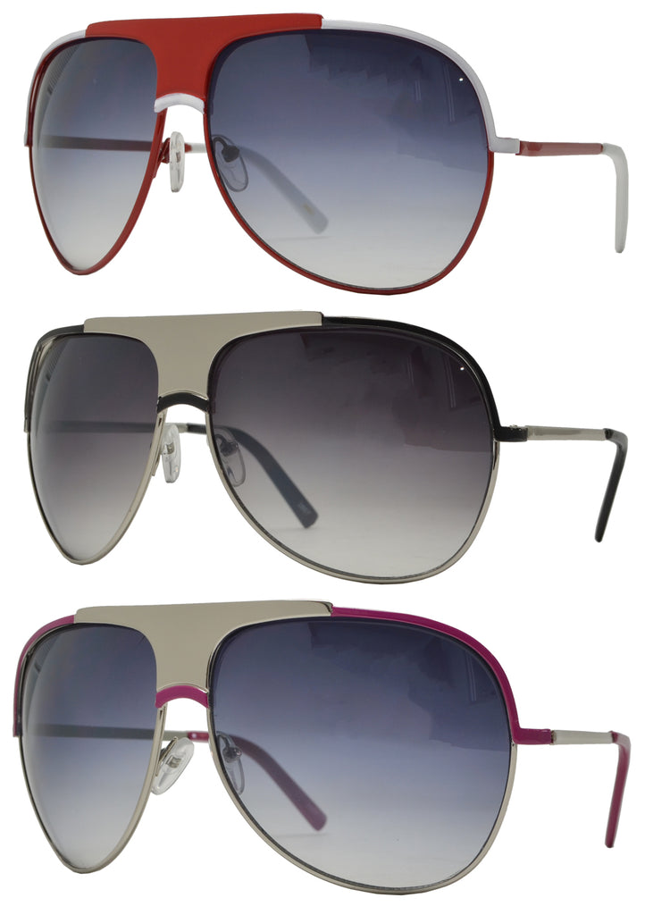 2657 - Retro Flat Top Metal Sunglasses