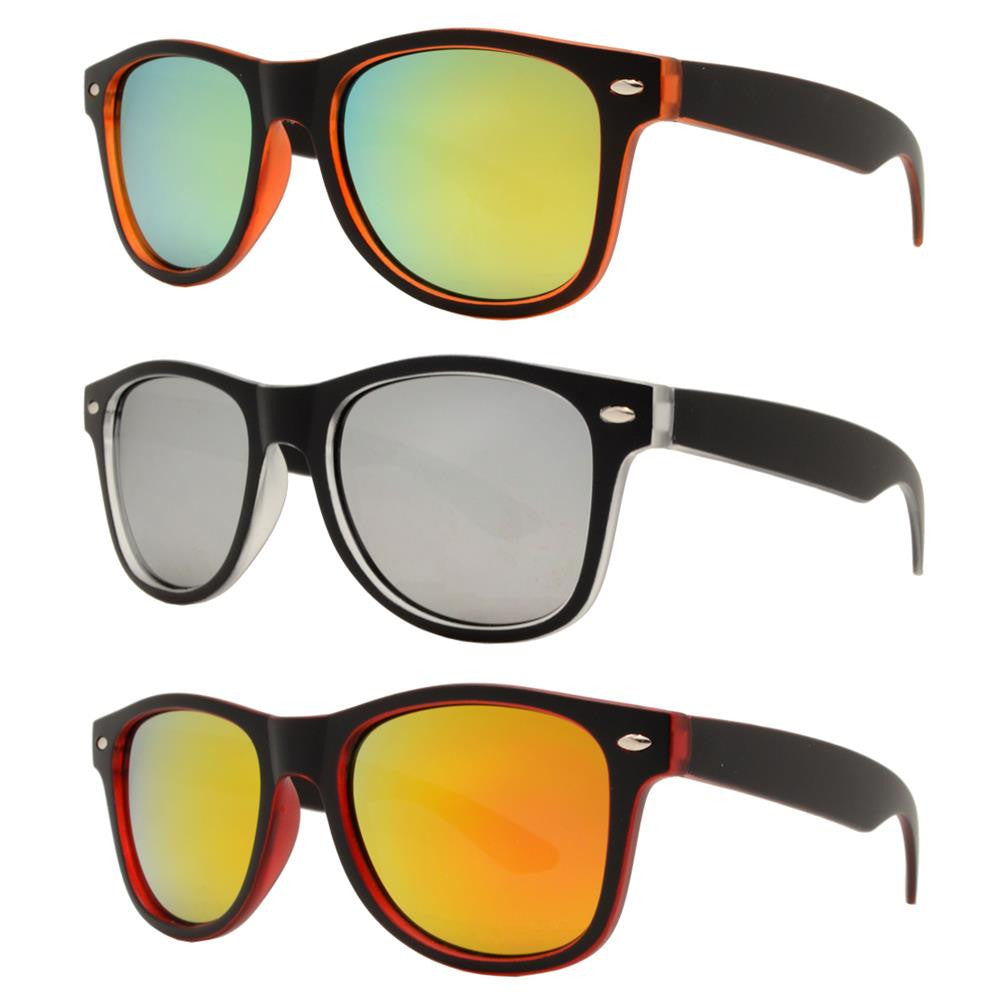 4567-5 - Kids Horn Rimmed Inner Matte Transparent Sunglasses with Color Mirror Lens