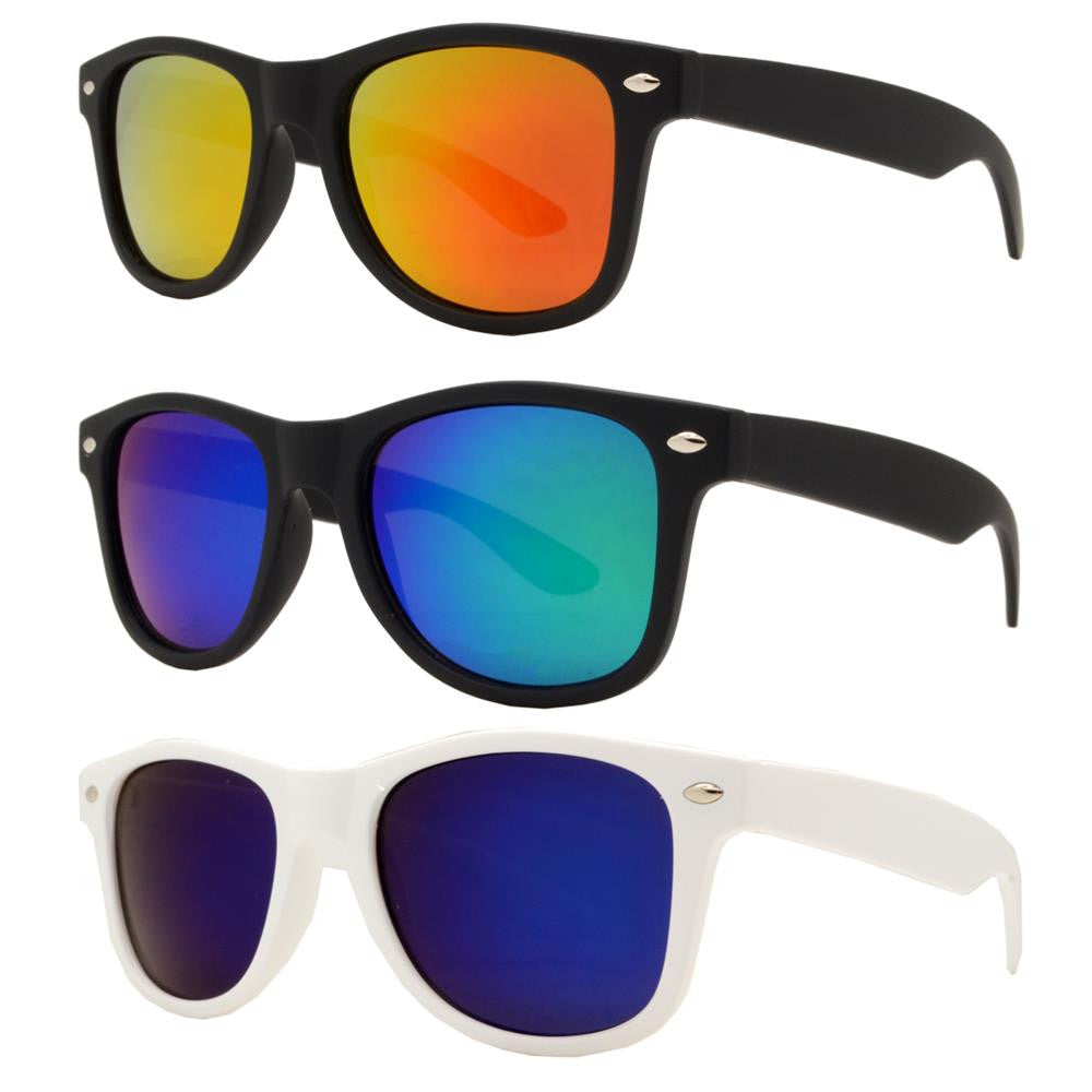 4567-6 - Kids Horn Rimmed Sunglasses with Color Mirror Lens