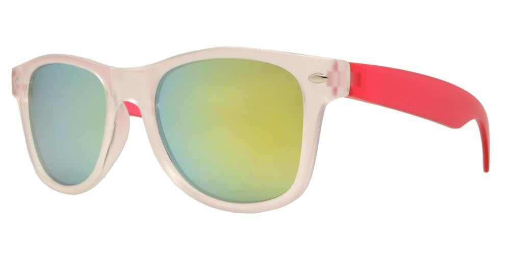 4567-7 - Kids Classic Horn Rimmed Matte Transparent Frame and Color Temple Sunglasses