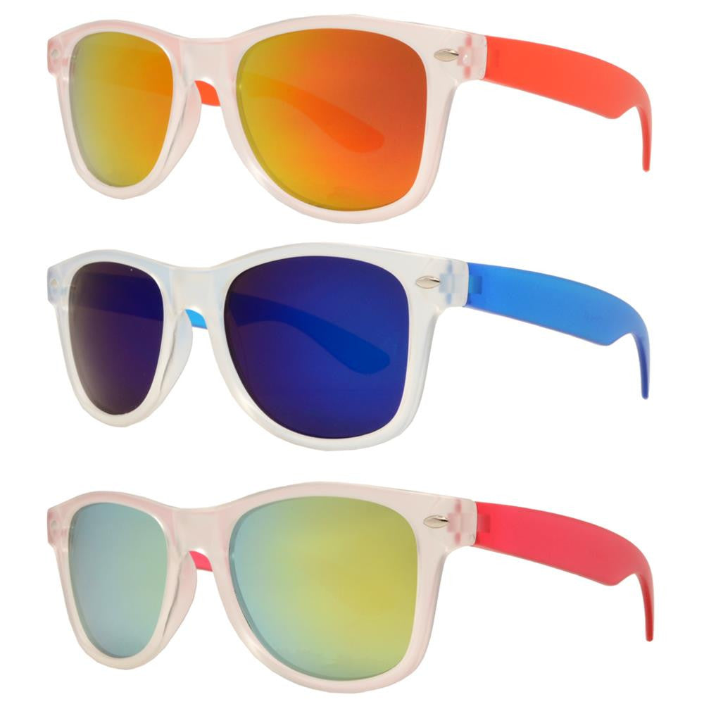 Wholesale - 4567-7 - Kids Classic Horn Rimmed Matte Transparent Frame and Color Temple Sunglasses - Dynasol Eyewear